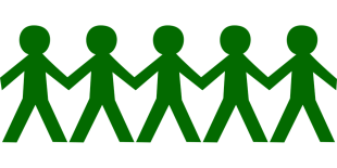 Green people holding hands